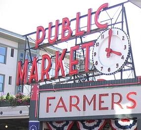 派克市场   位于派克街和佛吉尼亚街上第一大道和西大道之高清图片
